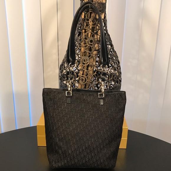 1fdc3c6e063b Dior Handbags - Vintage DIOR Oblique Canvas Leather Trim Tote Bag